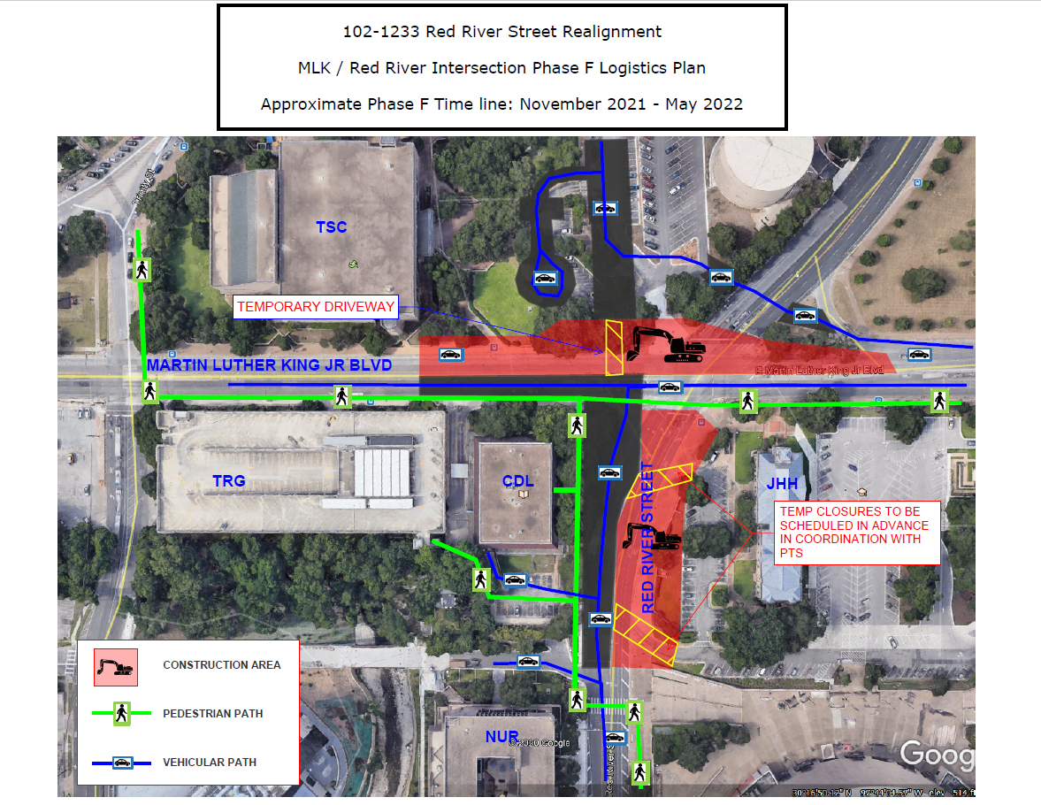 MLK/Red River Intersection Phase F Plan, November 2021-May 2022
