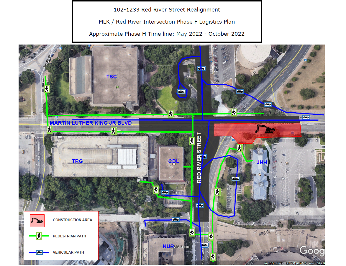 MLK/Red River Intersection Phase F Plan, May 2022- October 2022
