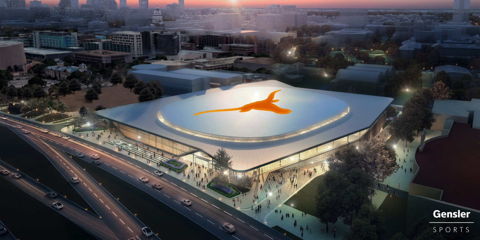 New Arena Exterior Arial View Rendering