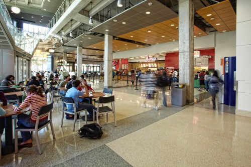 Students gather in the SAC food court
