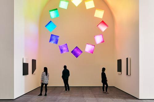 Inside the Austin building installation by artist Ellsworth Kelly