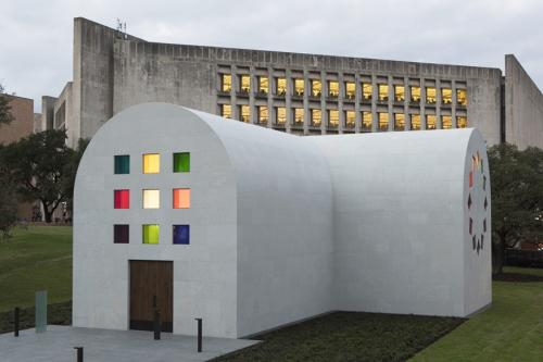 Exterior of Austin a building installation by artist Ellsworth Kelly