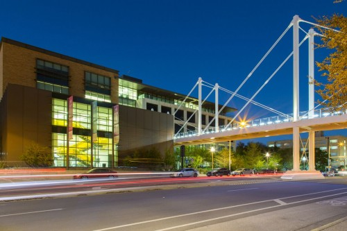 Belo Center and Moody Bridge at night